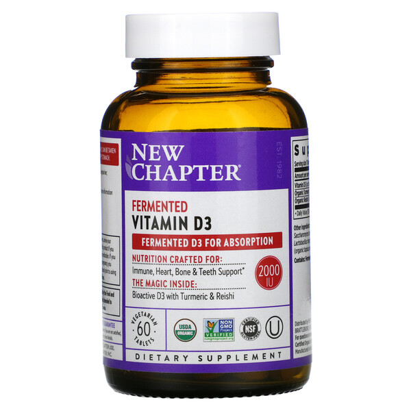 New Chapter, Fermented Vitamin D3, 60 Vegan Tablets
