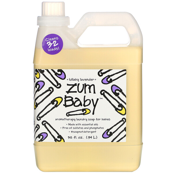 Zum Baby, ароматерапевтическое мыло для стирки детских вещей с успокаивающим запахом лаванды, 0,94 л (32 жидких унции)