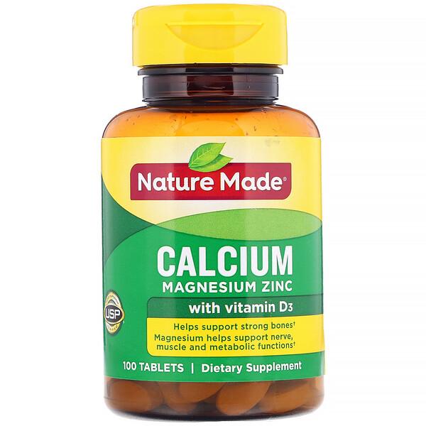 Nature Made, Кальций, магний и цинк с витаминомD3, 100таблеток