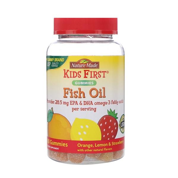 Nature Made, Kids First, Fish Oil Gummies, Orange, Lemon & Strawberry, 80 Gummies (Discontinued Item)