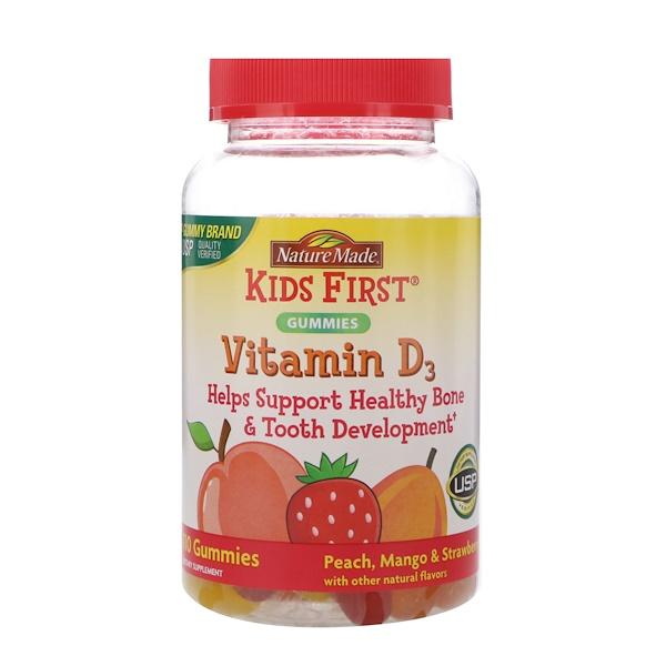 Nature Made, Kids First Vitamin D3 Gummies, Peach, Mango & Strawberry Flavors, 110 Gummies (Discontinued Item)