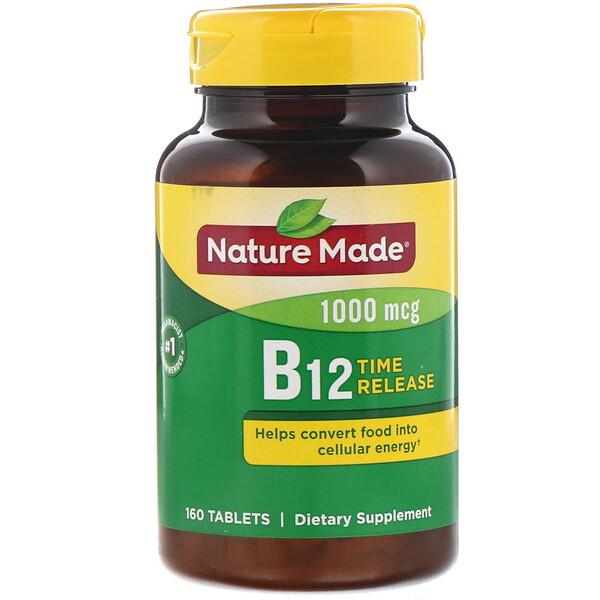 Nature Made, Витамин B12, с медленным высвобождением, 1000мкг, 160таблеток