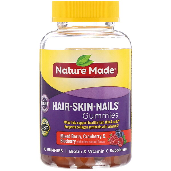 Nature Made, жевательные мармеладки для здоровья волос, кожи и ногтей, со вкусом клюквы, черники и других ягод, 90жевательных мармеладок