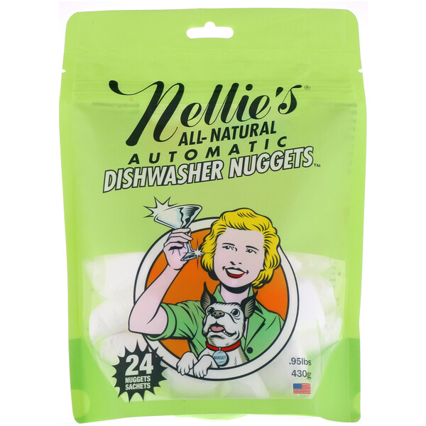 Nellie's, Полностью натуральные, наггетсы для автоматических посудомоечных машин, 24 наггетса, 430 г
