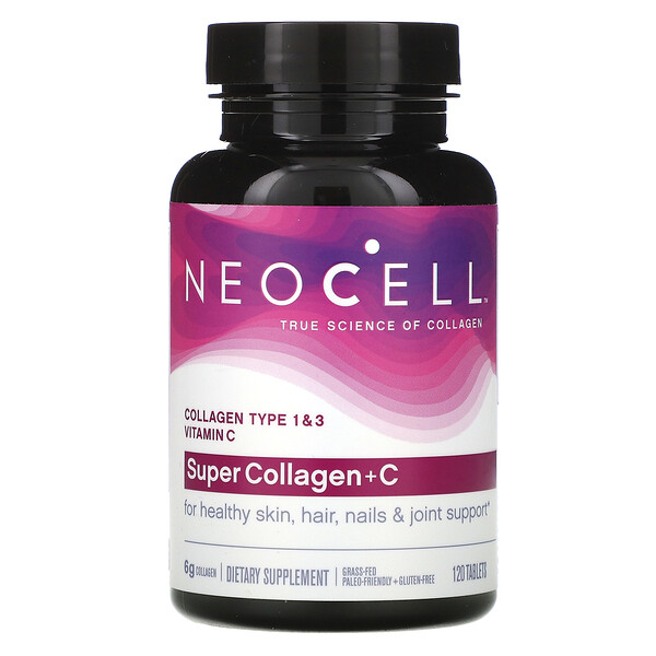 Neocell, Super Collagen + C, добавка с коллагеном и витамином C, 120 таблеток