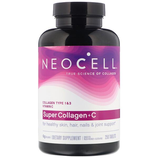 Neocell, Super Collagen + C, добавка с коллагеном и витаминомC, 250таблеток
