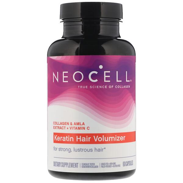 Neocell, Средство с кератином для придания объема волосам, 60капсул