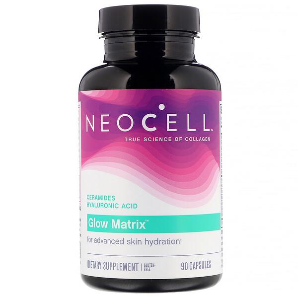 Neocell, Glow Matrix, улучшенный увлажнитель кожи, 90 капсул