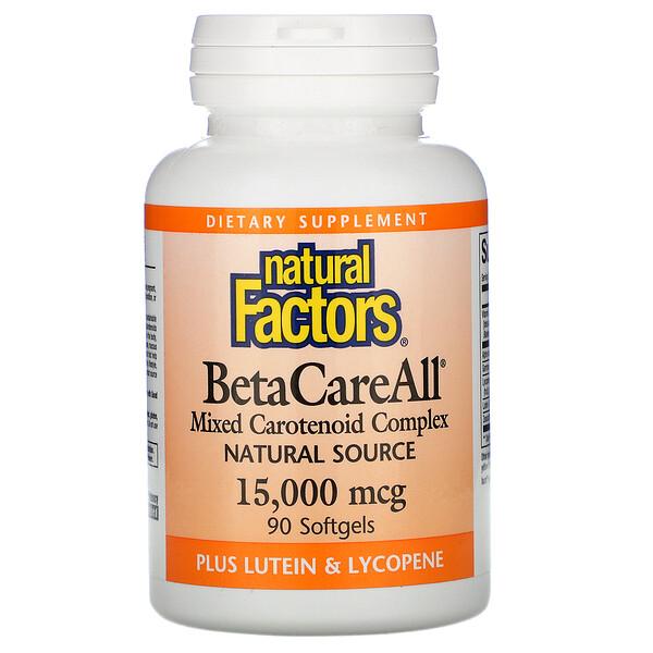 Natural Factors, BetaCareAll, 15 000 мкг, 90 мягких желатиновых капсул