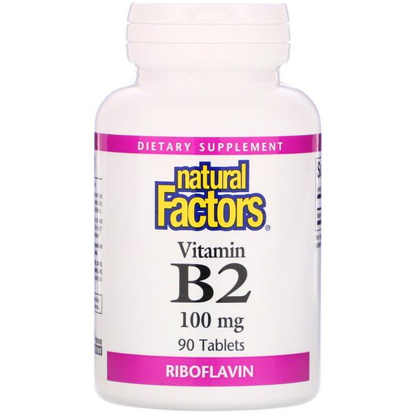 Vitamin B2, Riboflavin, 100 mg, 90 Tablets