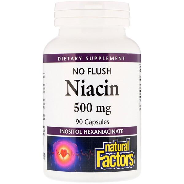 Ниацин, не вызывающий покраснения кожи, 500 мг, 90 капсул