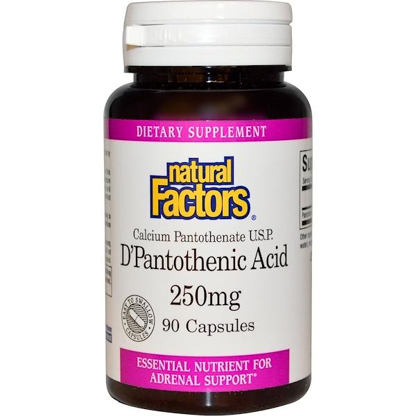 Natural Factors, D-пантотеновая кислота, 250 мг, 90 капсул (Discontinued Item)