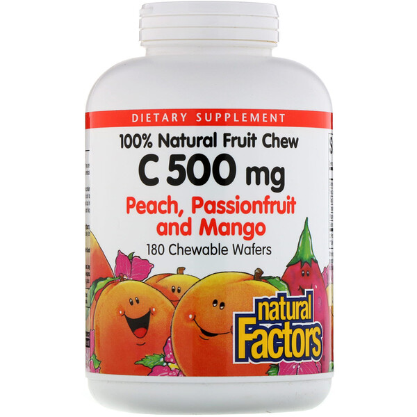 Natural Factors, 100% Natural Fruit Chew Vitamin C, Peach, Passionfruit and Mango, 500 mg, 180 Chewable Wafers