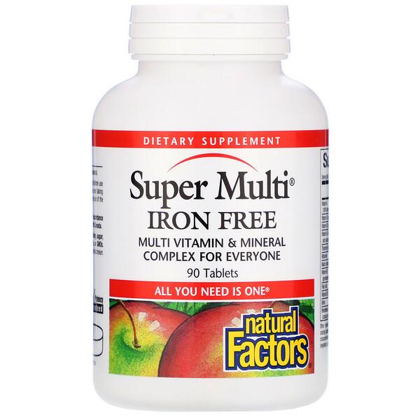 Natural Factors, Супермультивитамин, без железа, 90 таблеток