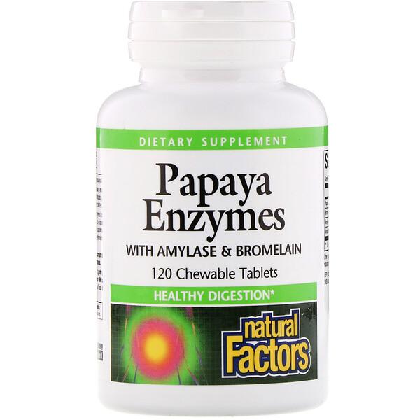 Papaya Enzymes with Amylase & Bromelain, 120 жевательных таблеток