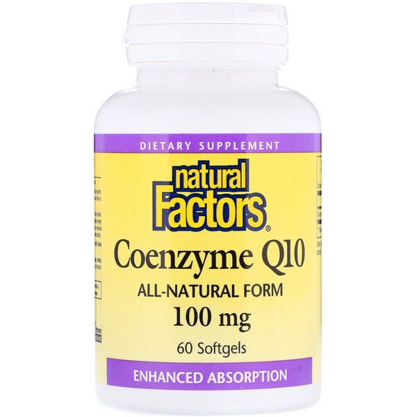 Natural Factors, Коэнзим Q10, 100 мг, 60 мягких желатиновых капсул