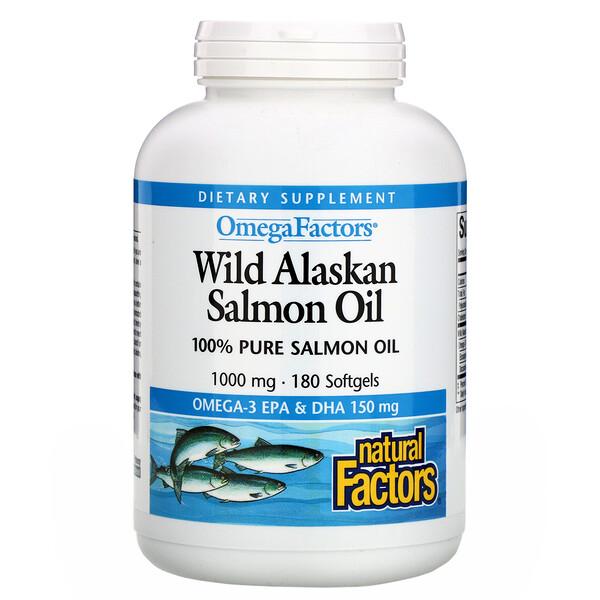 Natural Factors, Omega Factors, жир дикого аляскинского лосося, 1000 мг, 180 мягких таблеток
