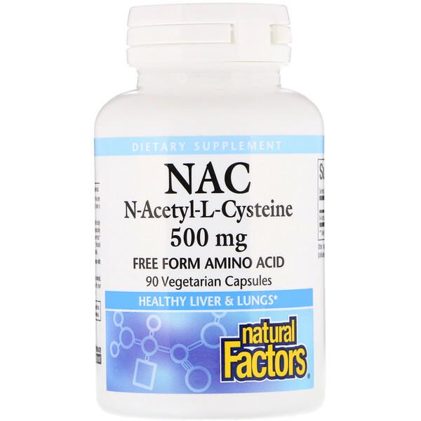 NAC N-Acetyl-L Cysteine, 500 mg, 90 Vegetarian Capsules