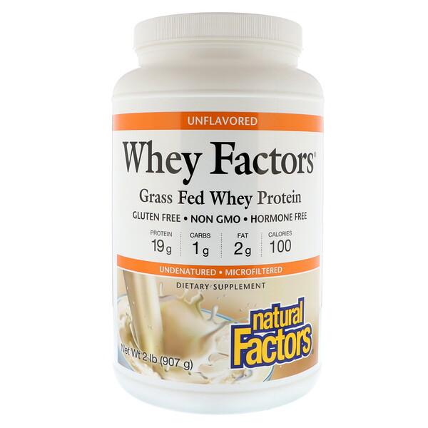 Whey Factors, сывороточный белок молока коров травяного откорма, без ароматизаторов, 907 г (2 фунта)