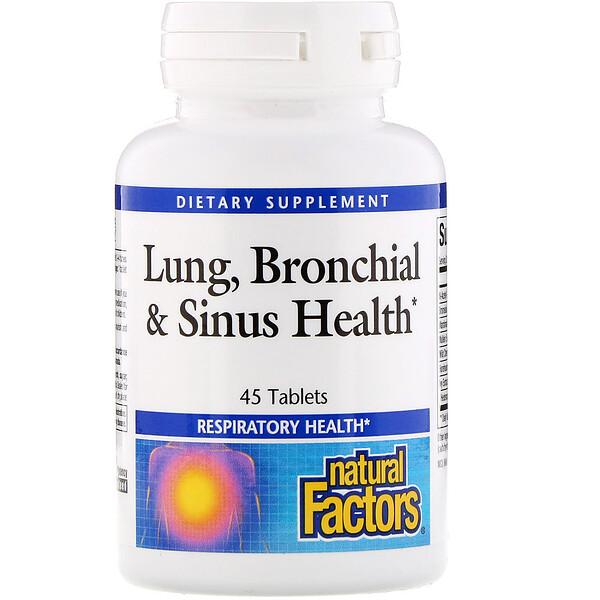 Natural Factors, Здоровье дыхательных путей (Lung, Bronchial & Sinus Health), 45 таблеток