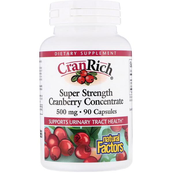 Natural Factors, CranRich, Super Strength, концентрат клюквы, 500 мг, 90 капсул
