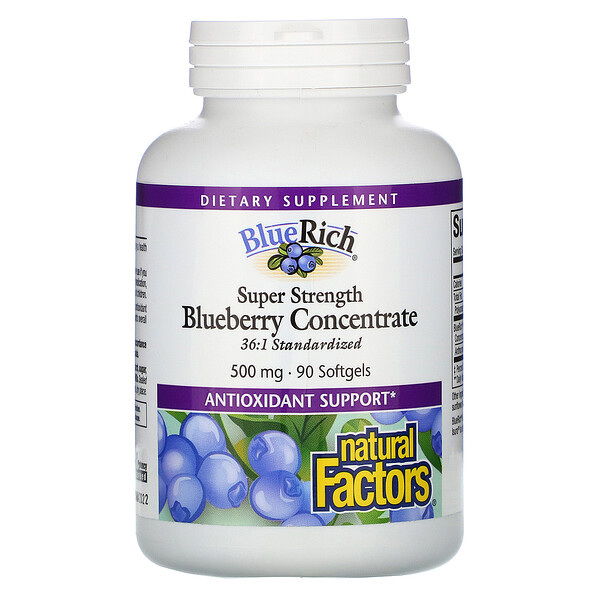 Natural Factors, BlueRich, суперсила, концентрат черники, 500 мг, 90 мягких таблеток