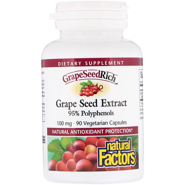 Natural Factors, Экстракт виноградных косточек, 100 мг, 90 капсул