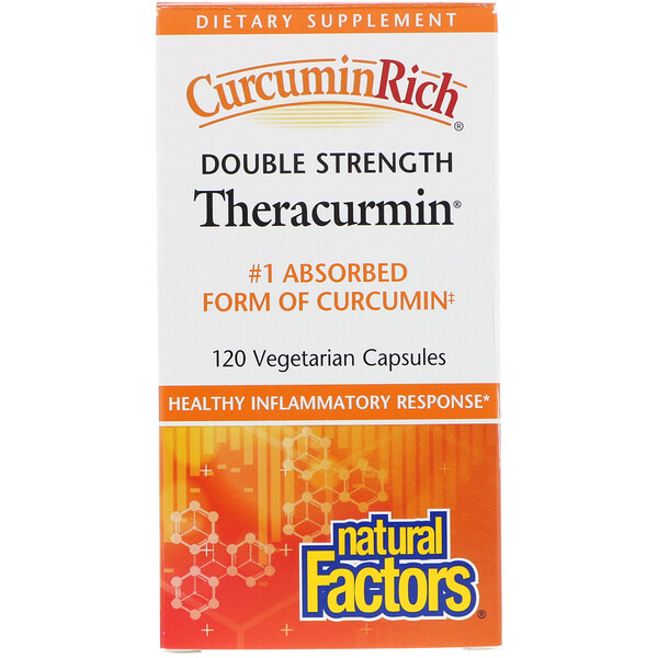 Natural Factors, Препарат CurcuminRich, Double Strength Theracurmin, 120 вегетарианских капсул