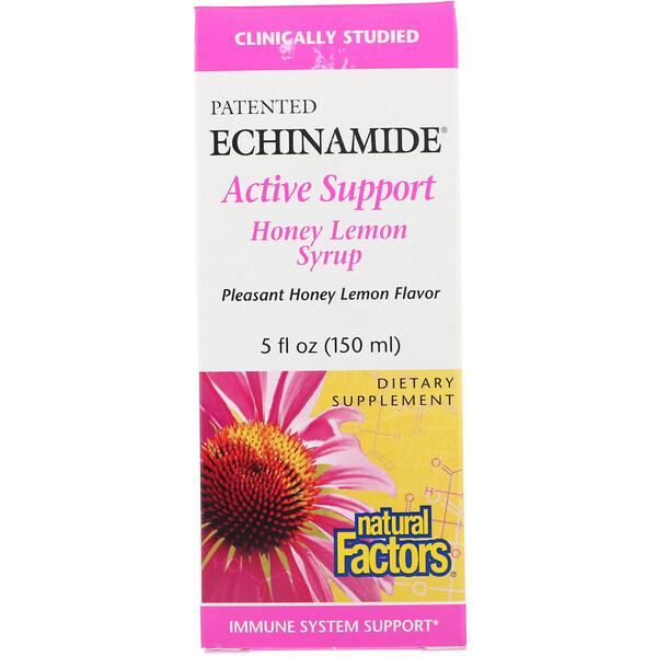Natural Factors, Echinamide Active Support, Honey Lemon Syrup, 5 fl oz (150 ml) (Discontinued Item)