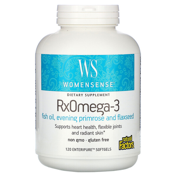 Natural Factors, WomenSense, RxOmega-3, 120 мягких таблеток Enteripure