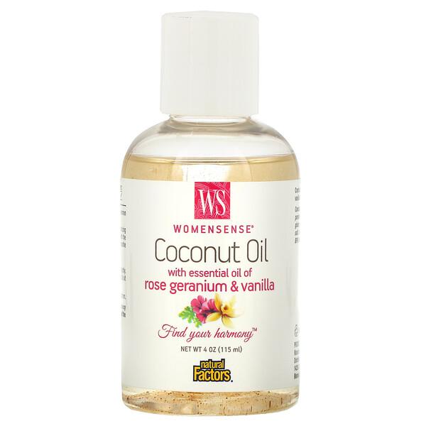 WomenSense, кокосовое масло с эфирным маслом розовой герани и ванили, 4 унции (115 мл)