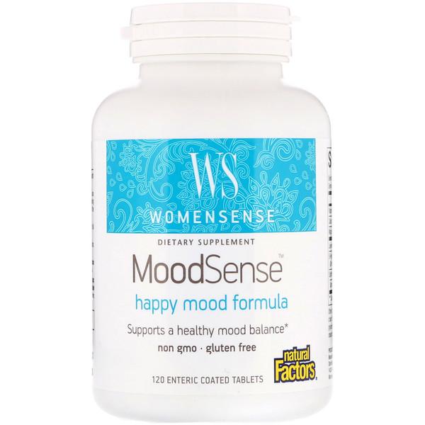 Natural Factors, WomenSense, MoodSense, для хорошего настроения, 120 желудочно-резистентных таблеток (Discontinued Item)