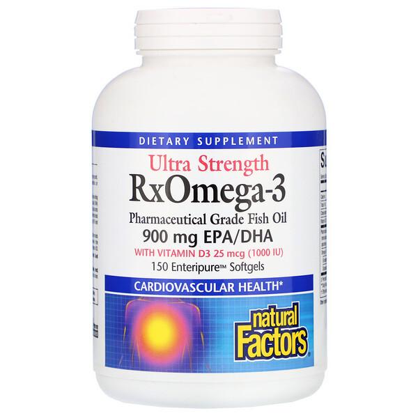 Natural Factors, Ultra Strength, RxOmega-3, с витамином D3, 900 мг ЭПК/ДГК (эйкозапентаеновая/докозагексаеновая кислота), 150 гелевых капсул Enteripure