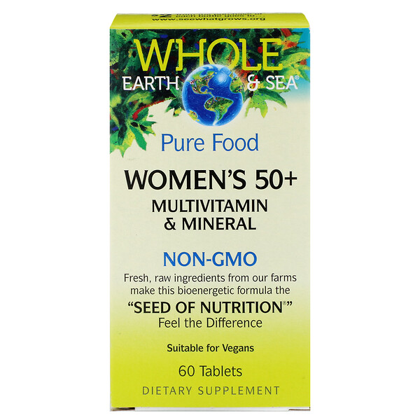 Whole Earth & Sea, мультивитаминный и минеральный комплекс для женщин старше 50 лет, 60 таблеток