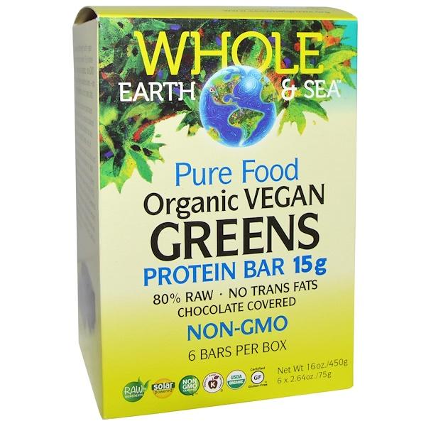 Natural Factors, Whole Earth & Sea, Pure Food, органические веганские протеиновые батончики с ростками, в шоколадной глазури, 6батончиков, 75г (2,64унции) каждый (Discontinued Item)