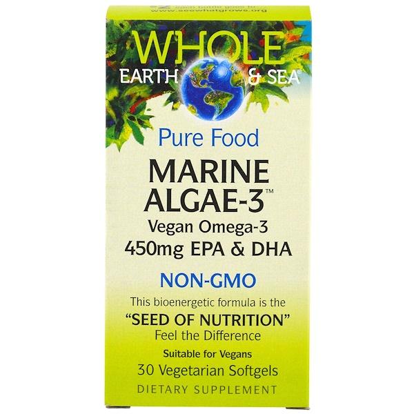 Natural Factors, Whole Earth & Sea, Морские водоросли-3, 450 мг ЭПК и ДГК, 30 капсул в растительной оболочке (Discontinued Item)
