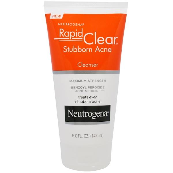 Neutrogena, Rapid Clear, очищающее средство против прыщей, максимальная сила, 147 мл (5,0 жидких унций)