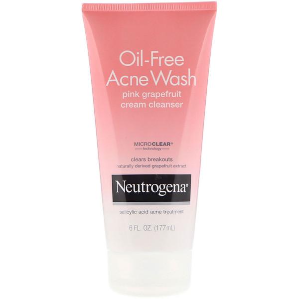 Neutrogena, Безмасляное средство от акне, очищающий крем с экстрактом розового грейпфрута, 6 ж. унц. (177 мл) (Discontinued Item)