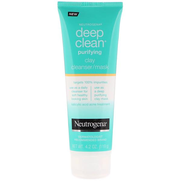 Neutrogena, Deep Clean, очищающая глиняная маска, 4,2 унц. (119 г) (Discontinued Item)
