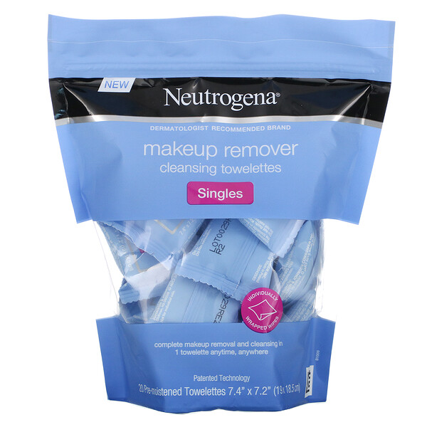 Makeup Remover Cleansing Towelettes, Singles, 20 Pre-Moistened Towelettes
