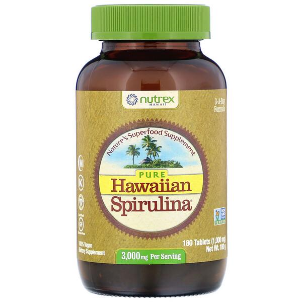 Nutrex Hawaii, Чистая гавайская спирулина, 3000 мг на порцию, 180 таблеток