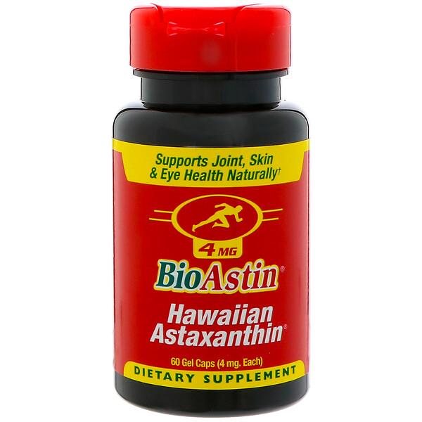 BioAstin, гавайский астаксантин, 4 мг, 60 желатиновых капсул