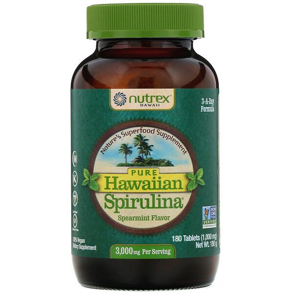 Pure Hawaiian Spirulina, колосистая мята, 1000мг, 180таблеток
