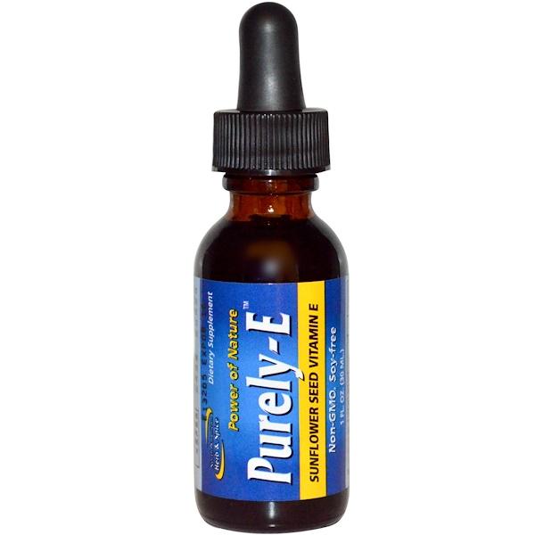 North American Herb & Spice, Purely-E, чистый витамин Е из семян подсолнуха, 30 мл (Discontinued Item)