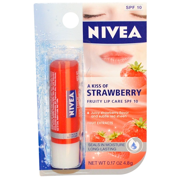 Nivea, A Kiss of Strawberry, Fruity Lip Care, SPF 10, 0.17 oz (4.8 g) (Discontinued Item)