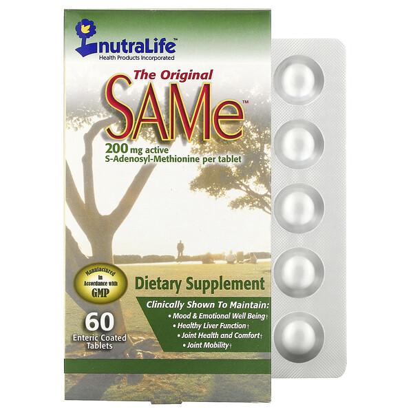 NutraLife, The Original SAMe (S-аденозилметионин), 200мг, 60таблеток, покрытых кишечнорастворимой оболочкой
