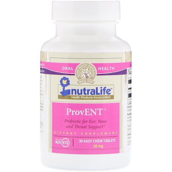 NutraLife, ProvENT с Blis K12, 20 мг, 30 легко пережевываемых жевательных конфет