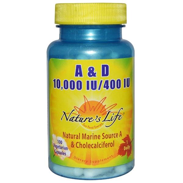 Nature's Life, А и Д, 10000 и 400 МЕ, 100 вегетарианских капсул (Discontinued Item)