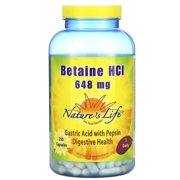 Бетаина гидрохлорид, 648 мг, 250 капсул