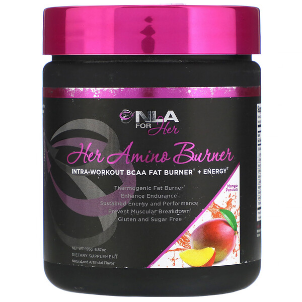 NLA for Her, Her Amino Burner, Intra-Workout BCAA Fat Burner + Energy, Mango Passion, 6.87 oz (195 g) (Discontinued Item)